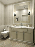 Bathroom classic style. 3d images Stock Photos