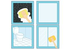 Bathroom cleaner icon and Clean the bathroom Clean glass Clean glass vector illustration