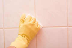 Bathroom cleaning Stock Images