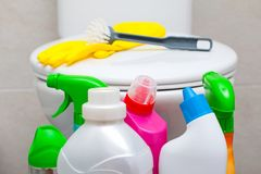 Bathroom cleaning products royalty free stock photography