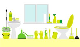 Bathroom cleaning accessory kit: cleaning tools Royalty Free Stock Photos