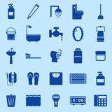 Bathroom color icons on blue background Royalty Free Stock Images