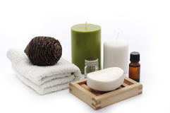 Bathroom composition. Bathroom composition with soap, essiantil oil, towel, soap dish, candels royalty free stock image