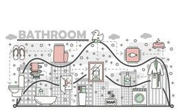 Bathroom concept vector flat line art illustration Stock Photos