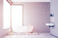 Bathroom with concrete walls, toned Royalty Free Stock Photo