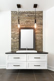 Bathroom contemporary cabinet. White bathroom contemporary cabinet with mirror and lighting Royalty Free Stock Image
