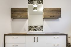 Bathroom contemporary cabinets Royalty Free Stock Photo
