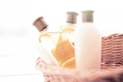 bathroom cosmetic set - home spa and wellness concept stock image
