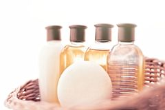 Bathroom cosmetic set - home spa and wellness concept. Bathroom cosmetic set - home spa and wellness styled concept stock photos