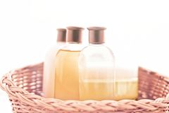 Bathroom cosmetic set - home spa and wellness concept. Bathroom cosmetic set - home spa and wellness styled concept royalty free stock photos