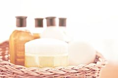 Bathroom cosmetic set - home spa and wellness concept. Bathroom cosmetic set - home spa and wellness styled concept stock photography