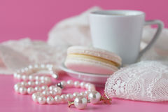Bathroom counter with coffee, vintage pearls jewelry stock images