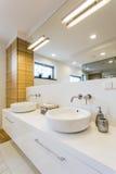 Bathroom for couple. Minimalist trendy bathroom for couple- marriage arrangement interior Royalty Free Stock Photography