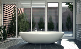 Bathroom with Courtyard Stock Photo