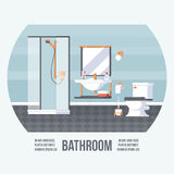 Bathroom Cover with Shower, Sink and Toilet. Vintage Retro Style with Flat Elements. Modern Trendy Design. Royalty Free Stock Photo