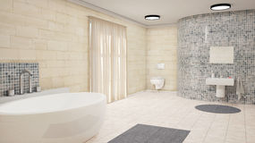 Bathroom with curtains Stock Photography