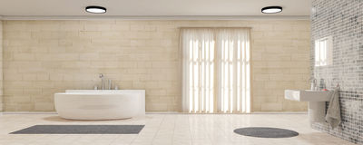 Bathroom with curtains panorama Royalty Free Stock Photography