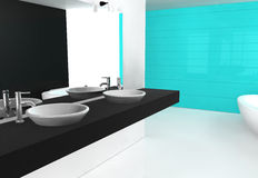 Bathroom Cyan. Modern luxurious bathroom with contemporary design and furniture, colored in black, blue-cyan and white, 3d rendering Stock Photos