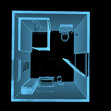 Bathroom (3D xray blue transparent). Bathroom (3D xray blue transparent isolated on black background Stock Image