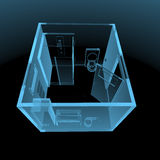 Bathroom (3D xray blue transparent). Bathroom (3D xray blue transparent isolated on black background Royalty Free Stock Photography