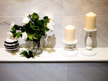 Bathroom decor. Modern bathroom decoration with candle and rose flower Stock Image