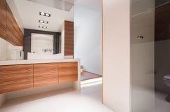 Bathroom with decorative wood imitation Royalty Free Stock Images