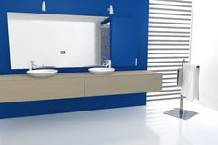 Bathroom Design. Contemporary bathroom with modern design colored in blue, maple and white, 3d rendering Royalty Free Stock Images