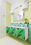 Bathroom design with beautiful print on bath cabinet Stock Images