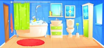 Bathroom design interior room with ceramic furniture background template. Vector cartoon illustration vector illustration