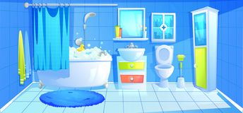 Bathroom design interior room with ceramic furniture background template. Vector cartoon illustration. Bathroom design interior room with ceramic furniture royalty free illustration