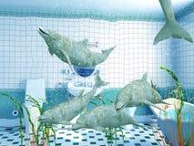 bathroom dolphins Στοκ εικόνες με δικαίωμα ελεύθερης χρήσης