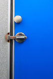 Bathroom door blue. Royalty Free Stock Photo