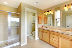 Bathroom with double sink and shower. Royalty Free Stock Photos