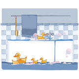 Bathroom with ducks. Ducks making a party in a flooded bathroom Stock Photography