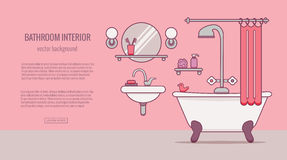 BATHROOM-END. Bath equipment colorful concept . Card or poster template with flat outline symbols of mirror, bath, toilet, sink, shower. Vector illustration for vector illustration