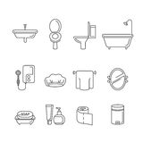 Bathroom equipments linear icons set Stock Photography