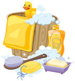 Bathroom equipments in yellow color Royalty Free Stock Images