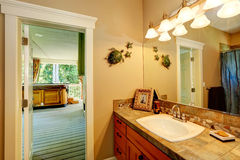 Bathroom with exit to jacuzzi Stock Photo