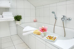 Bathroom in family house Stock Photos
