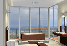 Bathroom with fantastic view. Rendering of a modern bathroom with fantastic view Royalty Free Stock Photos