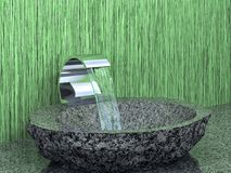 Bathroom faucet with and stone sink on green grassy backgroung. Bathroom faucet with flowing water and stone sink on green grassy backgroung. 3D rendering Royalty Free Stock Photos