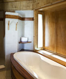 Bathroom finished with natural materials Stock Photos