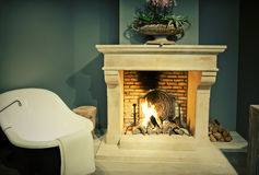 Bathroom with fire place Royalty Free Stock Photo