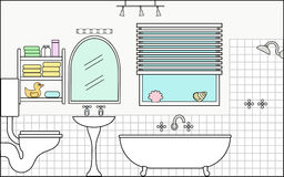 Bathroom with Fixtures and Fittings royalty free illustration