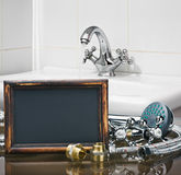 Bathroom fixtures and fittings are of different construction and Stock Images