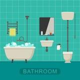 Bathroom flat banner. Royalty Free Stock Photos