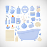 Bathroom  flat icons. Big set of flat design interior, body care and cosmetic products objects isolated on the dark background,  illustration Royalty Free Stock Image