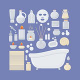 Bathroom  flat icons set. Big set of flat design interior, body care and cosmetic products objects  on the dark background,  illustration Stock Photography