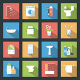 Bathroom flat icons set Royalty Free Stock Image