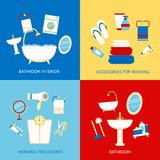 Bathroom flat set Royalty Free Stock Photos